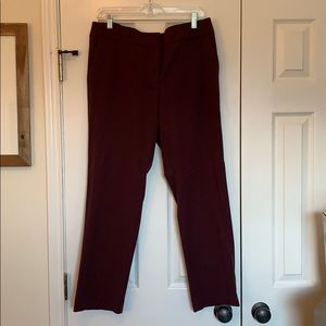 Ann Taylor Maroon Ankle Dress Pants size 12